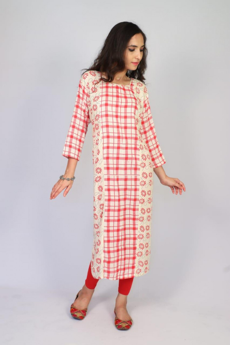 Pretty Red Color  Rayon Print Party Wear Kurti