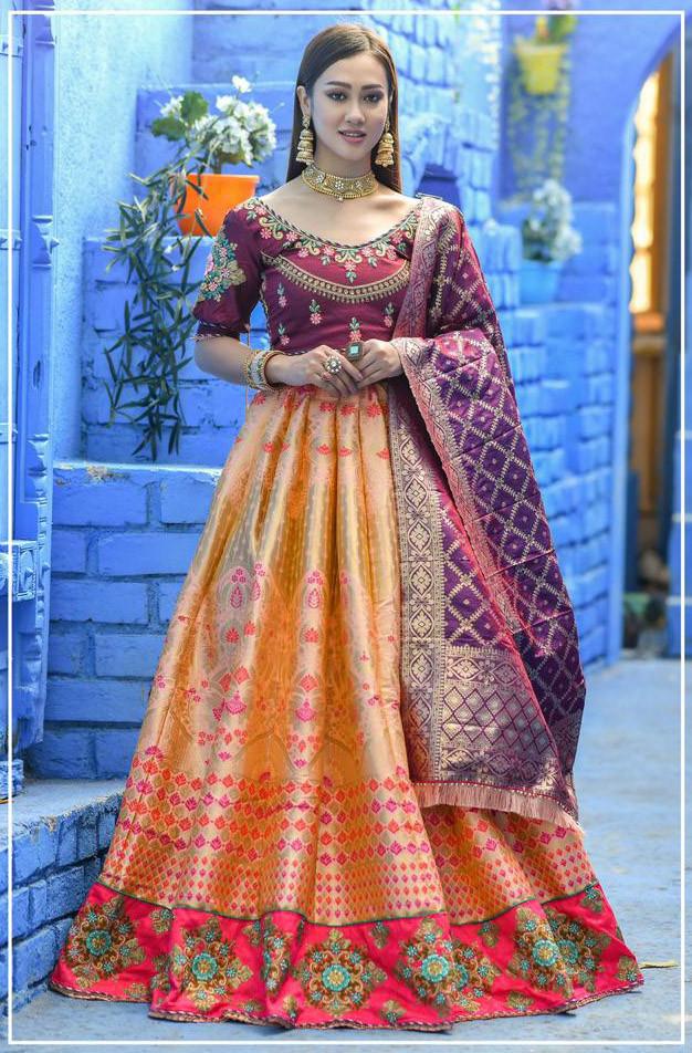 Heavy Embroidered Peach Banarasi Silk Lehenga