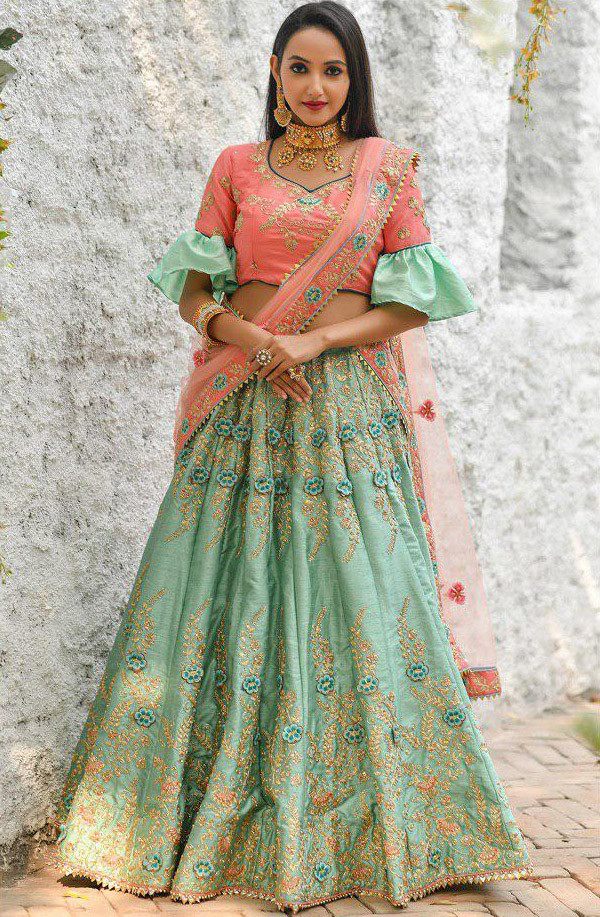Embroidered Mint Green Heavy Bridal Lehenga