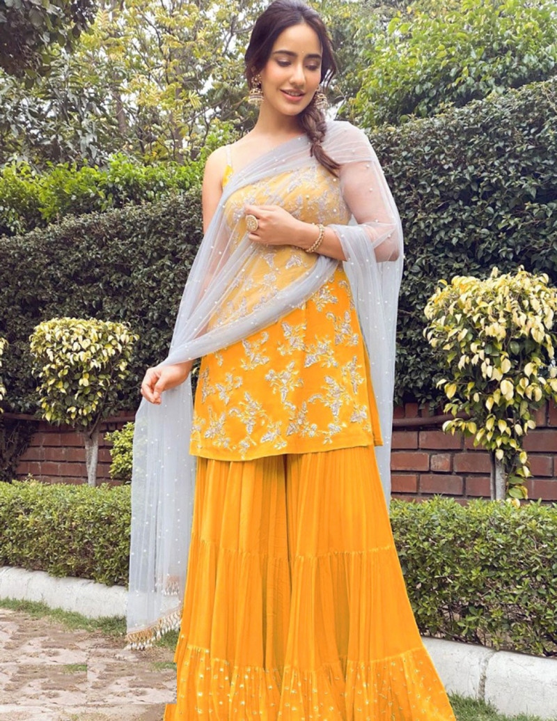 Neha Sharma Latest Yellow Color Party Wear Bollywood Sharara Suit