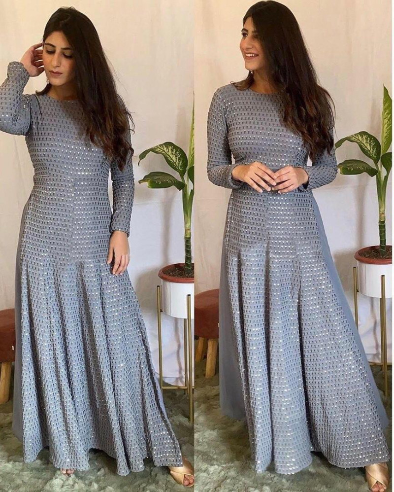 Latest Yankita Kapoor Grey Color Long Suit With Palazzo