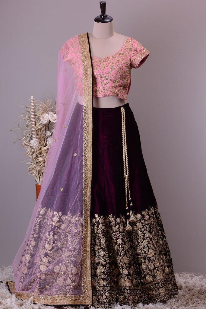 Stylish Purple Color Heavy diamond Hand Work Lehenga Choli