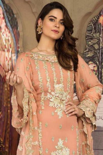 Latest Heavy Georgette Pakistani Suit In Salmon Color
