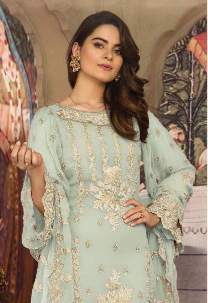 Georgette Embroidered Pakistani Suit In Sky Blue