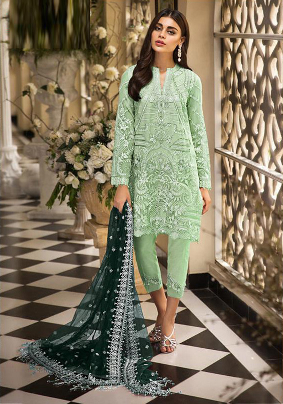 Heavy Embroidered Pakistani Suit In Sage Color