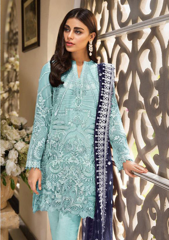 Sky Blue Faux Georgette Pakistani Suit