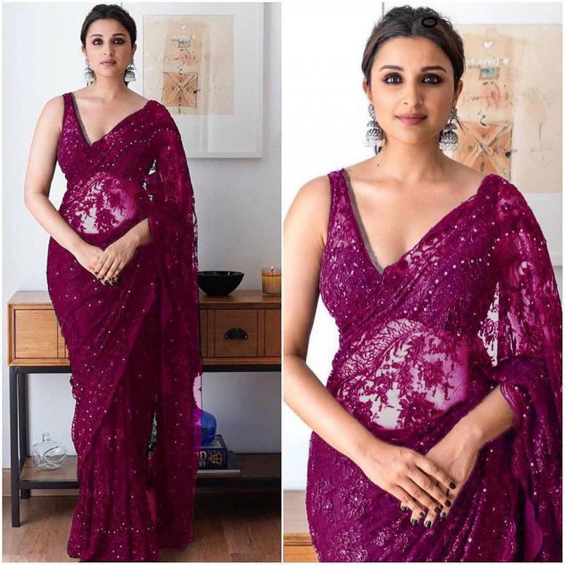 New Bollywood Latest Purple Color Saree