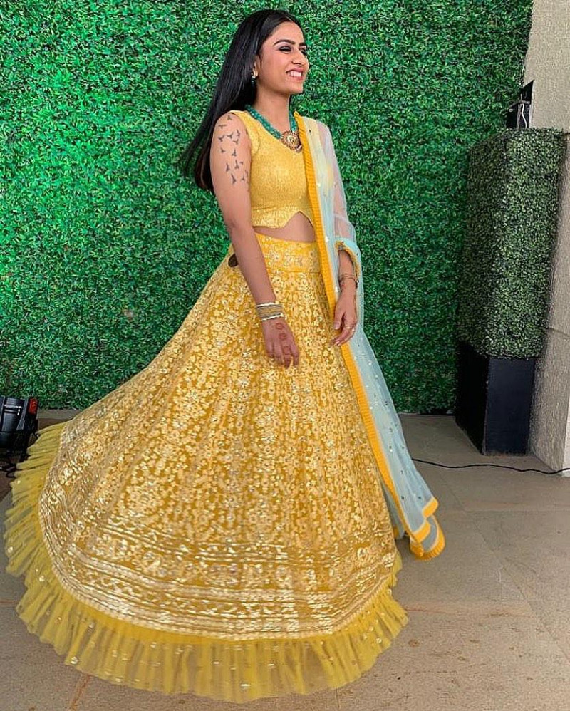 Yellow Color Embroidery Work Lehenga Choli