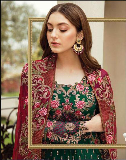 Designer Heavy Embroidered Green Pakistani Suit