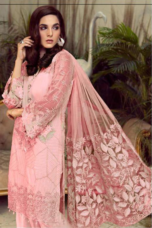 Heavy Net Light Pink Georgette Pakistani Suit