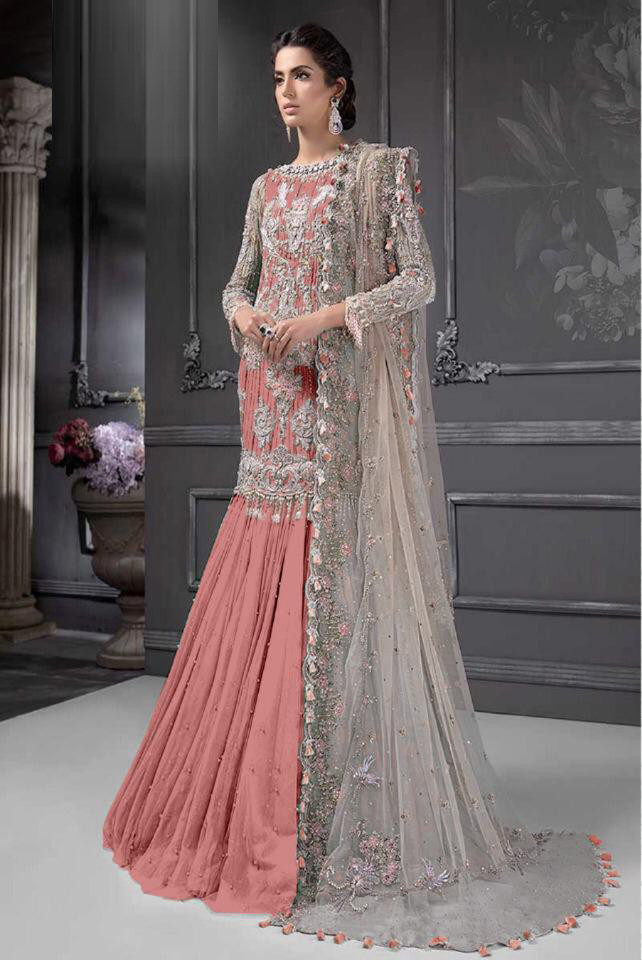 Heavy Net Georgette Peach Pakistani Dress