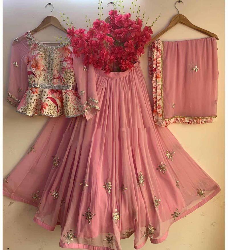 Stylish Pink & Cream Color Embroidery  Lehenga Choli