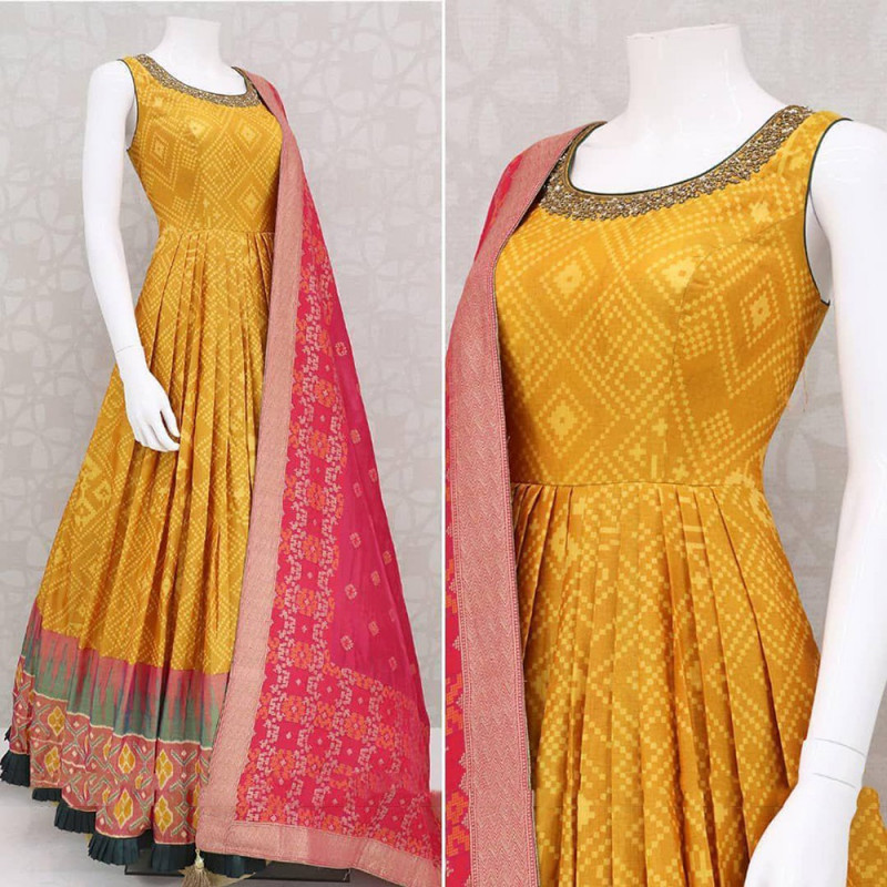 Latest Mustard Yellow Color Party Wear Suit