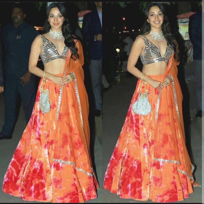 Bollywood Orange Wedding Lehenga Choli