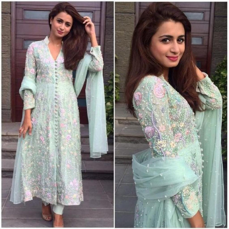 Party Wear Sky Color Embroidery Work Suit