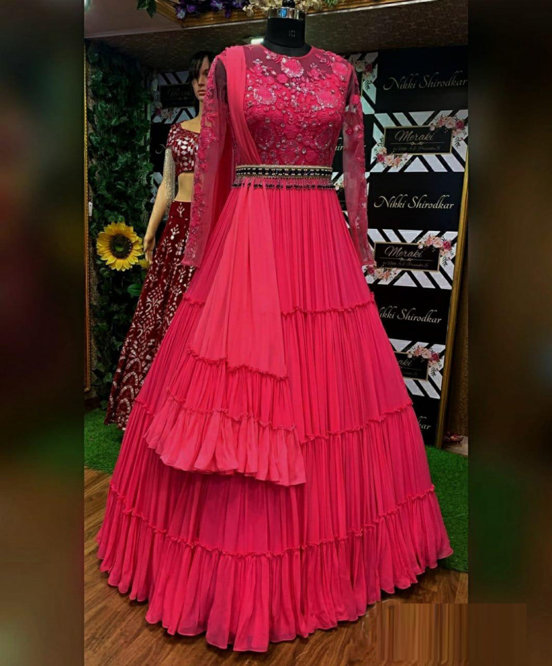 Pink Color Georgette Party Wear Gown