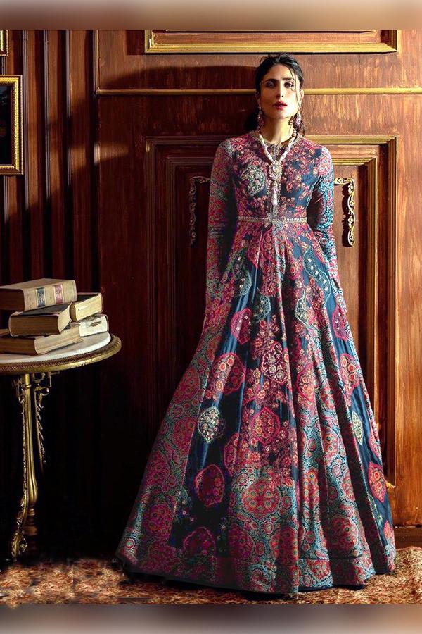 Designer Navy Blue Color Printed Gown