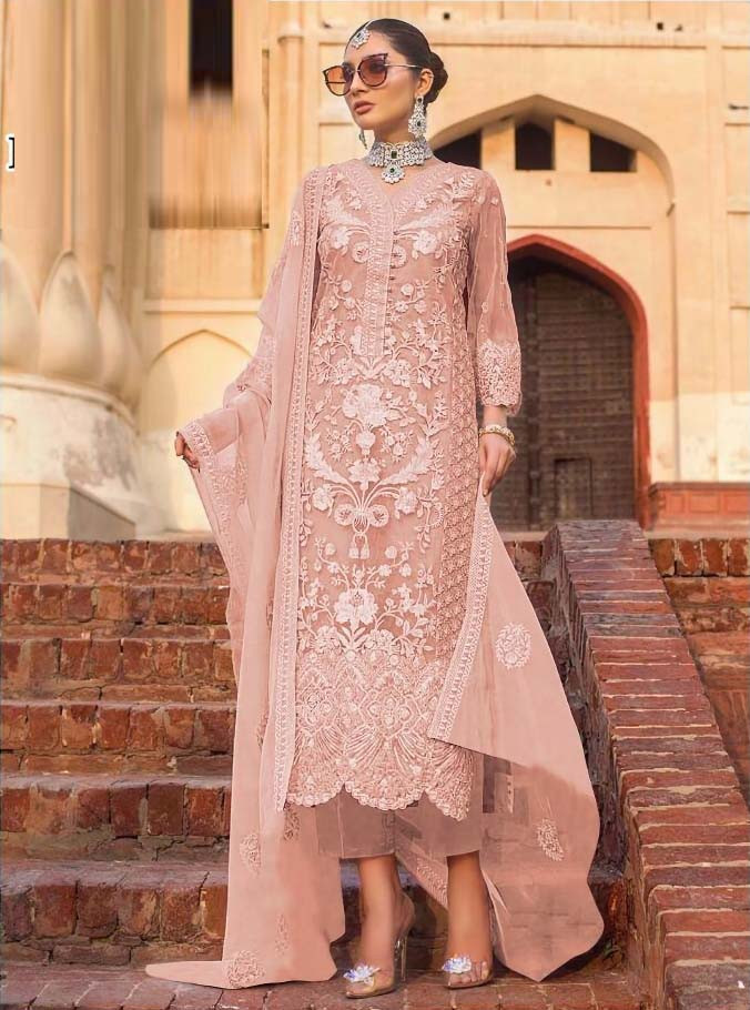 Heavy  Soft Net Designer Embroidered Pink Pakistani Suit
