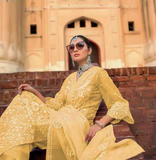 Yellow Color Embroidered Soft Net Pakistani Suit With Stone