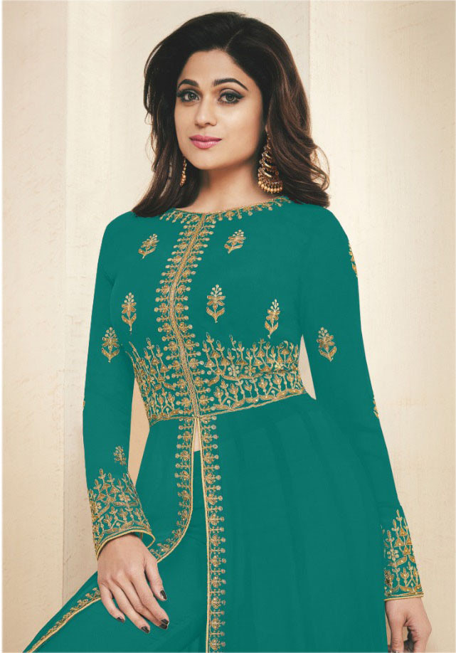 Green Color Embroidery Work Desiger Suit