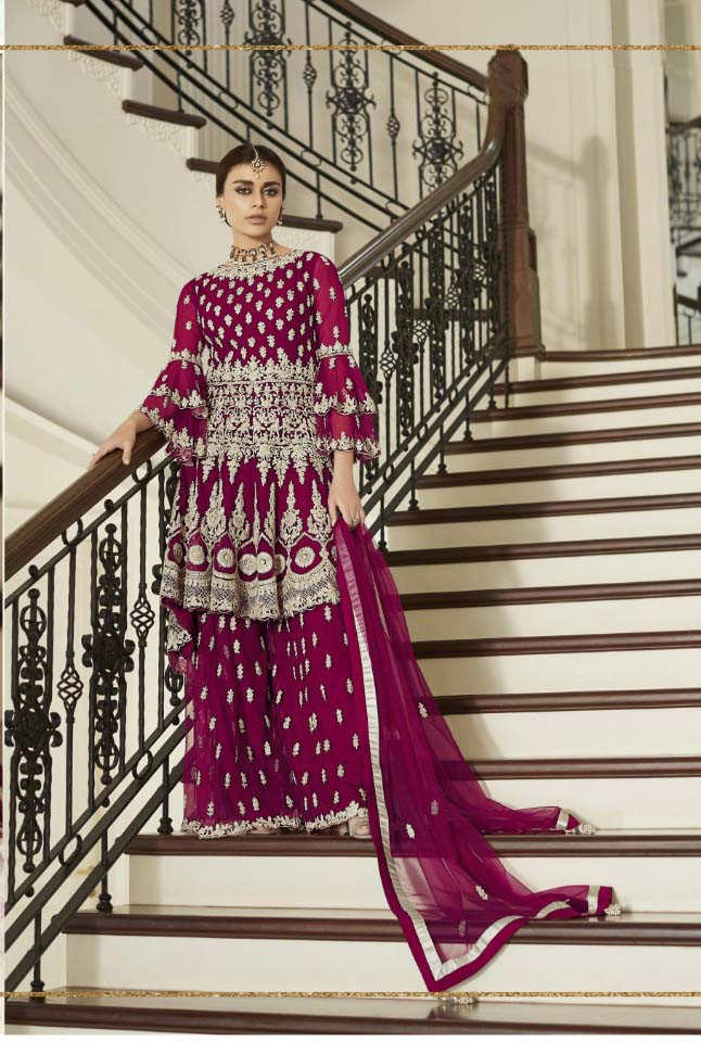Purple Color Heavy Embroidery Work Plazzo Set