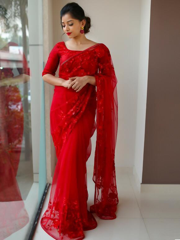 Red Color Designer Saree With Less Work