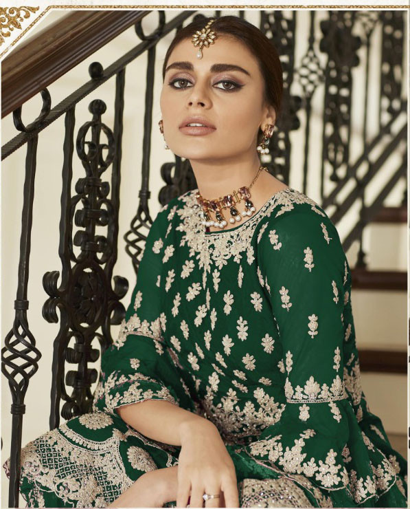 Green Color Heavy Embrodery Work Plazzo Set