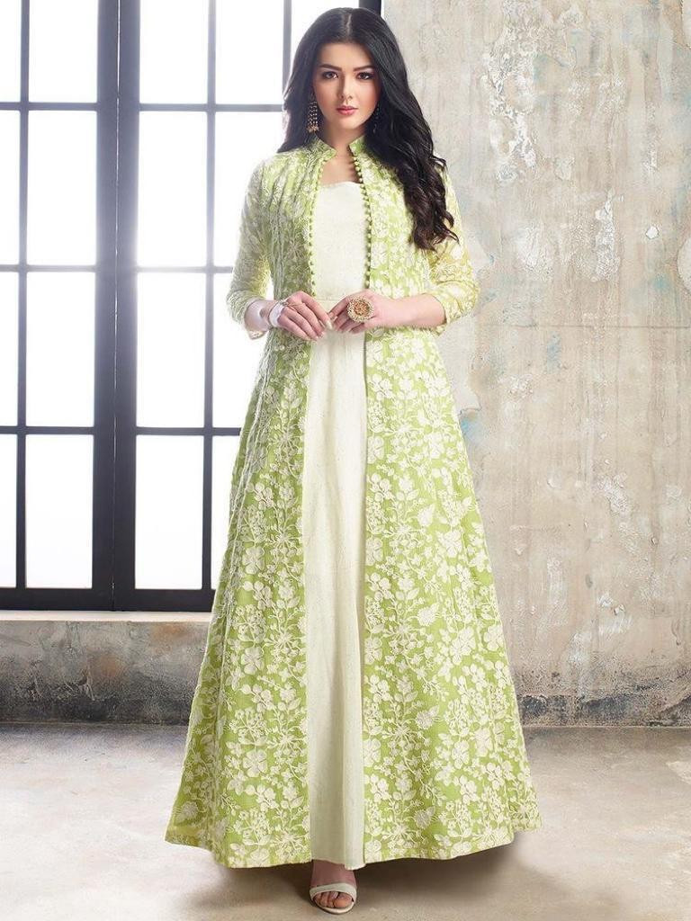 White-Pista Color Embroidery Work Gown With Long Jacket
