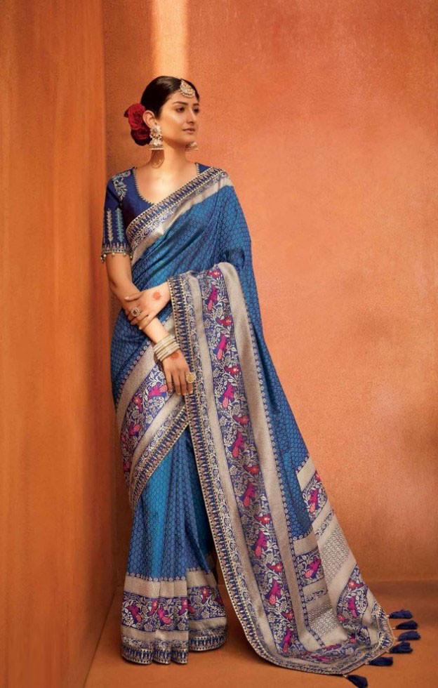 Bridal Blue Banarasi Silk Saree