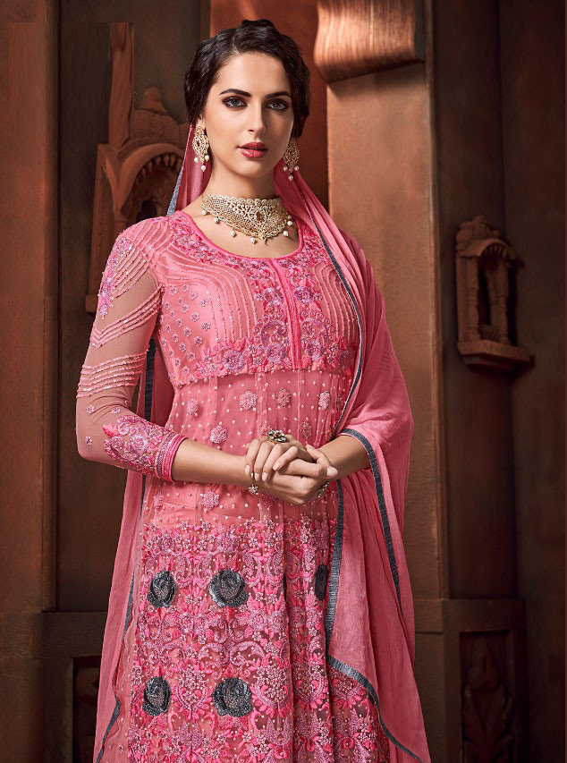 Pink Color Embroidery Work Suit