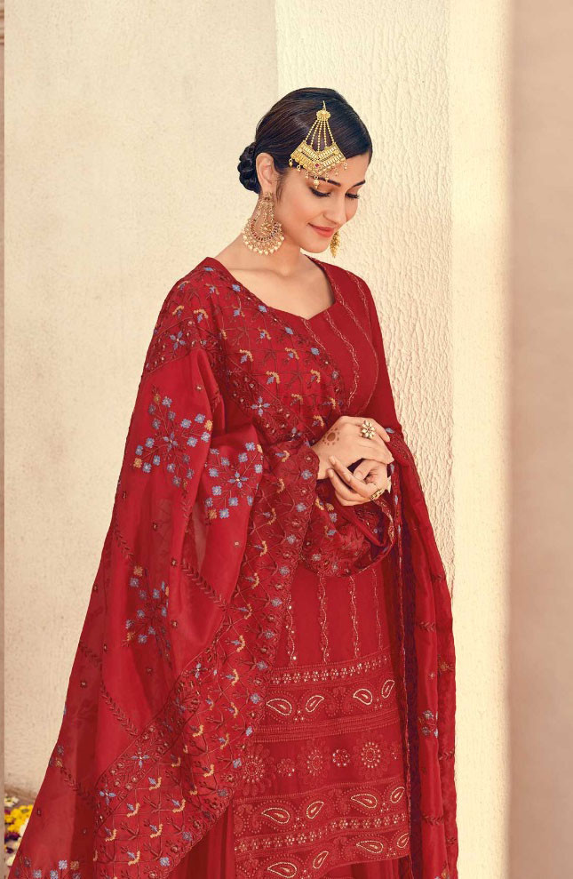 Red Color Party Wear Sarara Suit