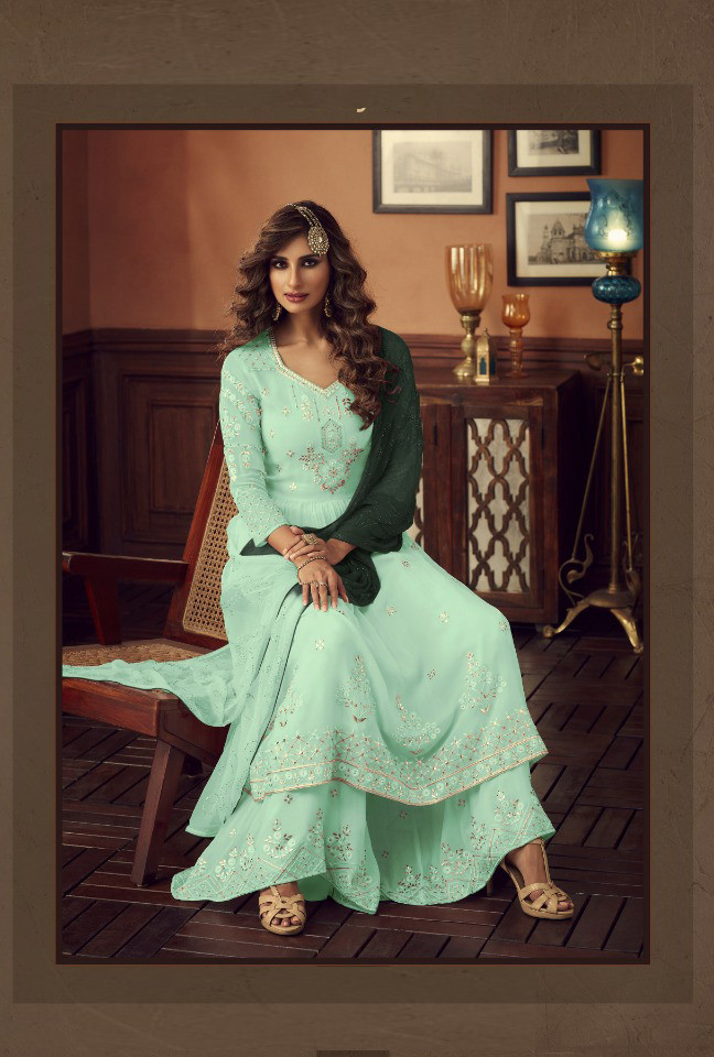 Light Pista Green Color Palazzo Suit Collection