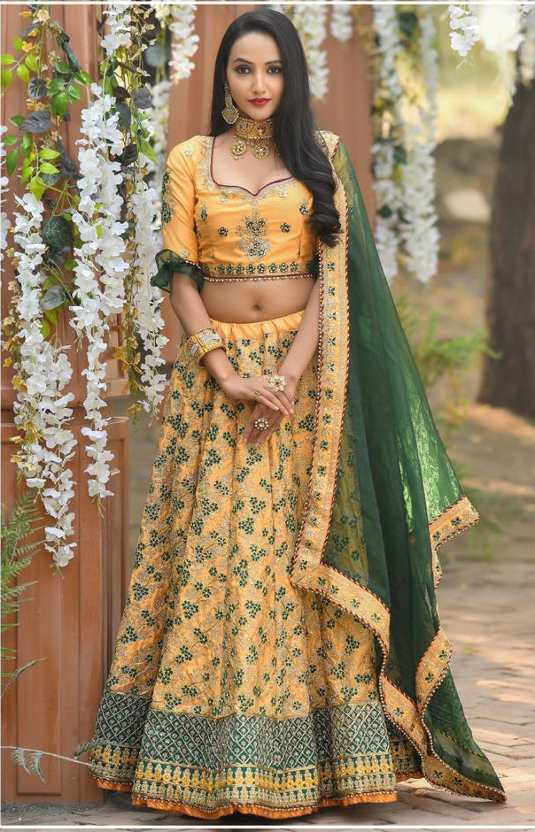 Yellow Color Silk Lehenga Choli