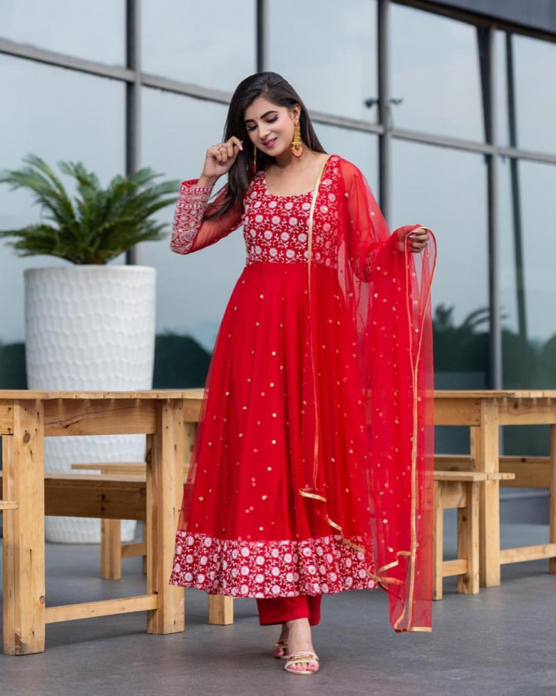 Party Wear Red Color Anarkali Suit