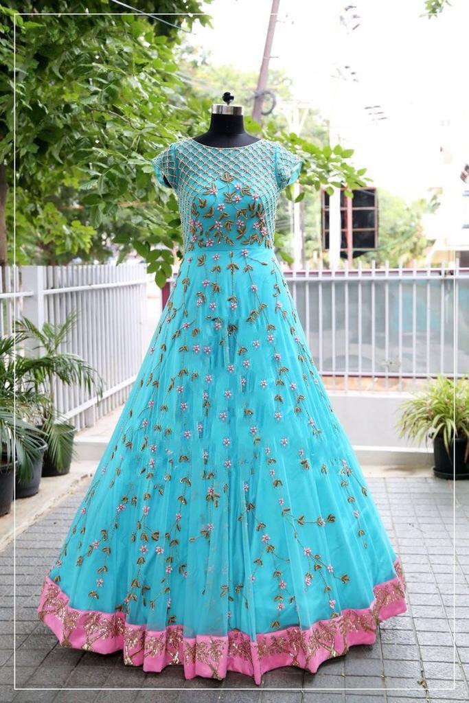 Latest Sky Blue Color Embroidery Work Long Gown