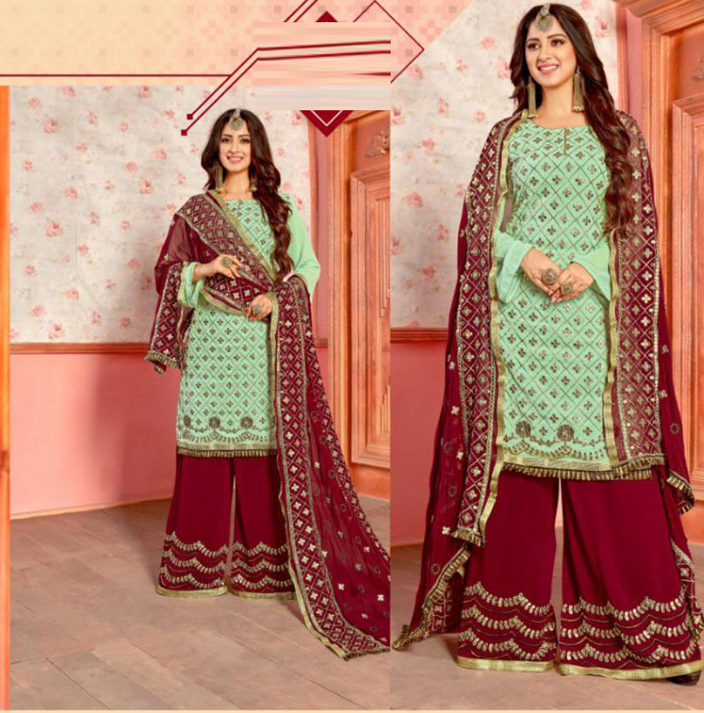 Stylist Pastal Green Color Sarara Suit
