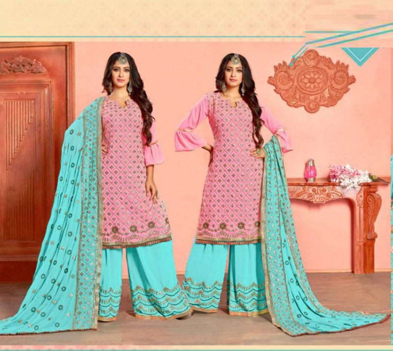 Pink Color Party Wear Sarara Suit