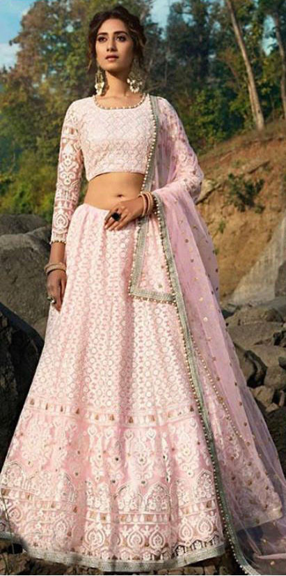Fancy Light Pink Color Georgette Lehenga Choli
