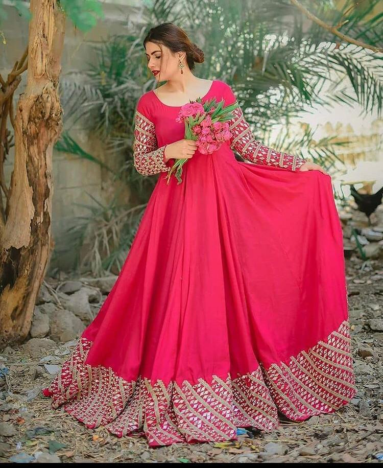 Pink Color Party Wear Georgette Long Gown