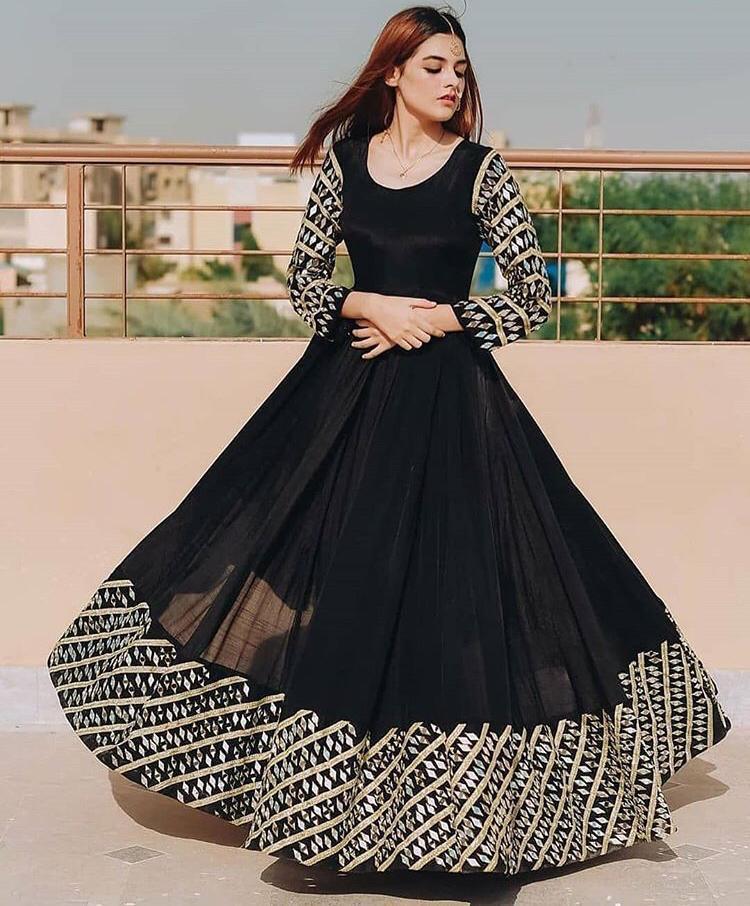 Latest Black Color Long Gown
