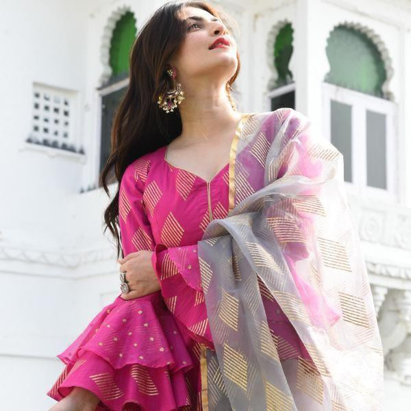 Latest Pink Color Long Gown