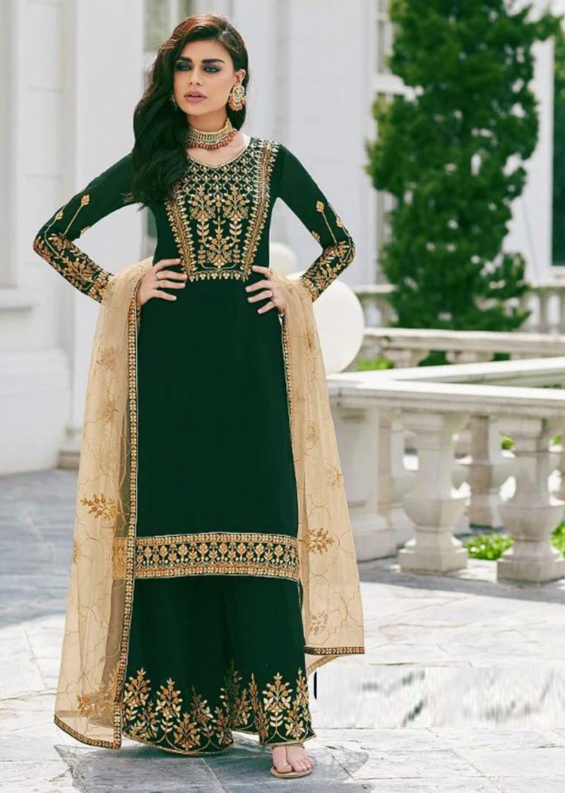 Women's Stylish Designer Green Color Palazzo Suit