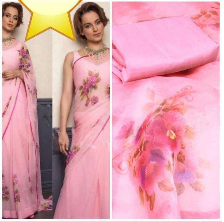 Stylish Baby Pink Organza Saree With Blouse