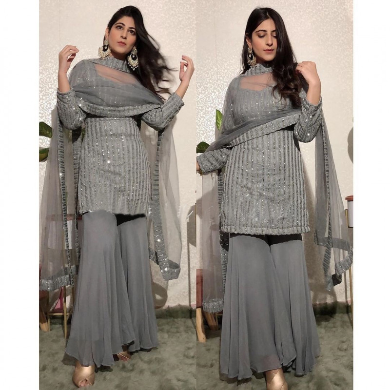 Grey Color Top Palazzo