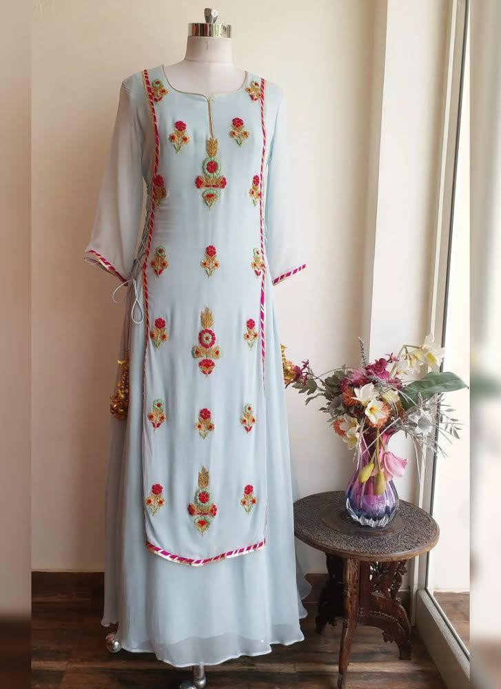 Light Sky Blue Color Party Wear Palazzo Top With Dupata