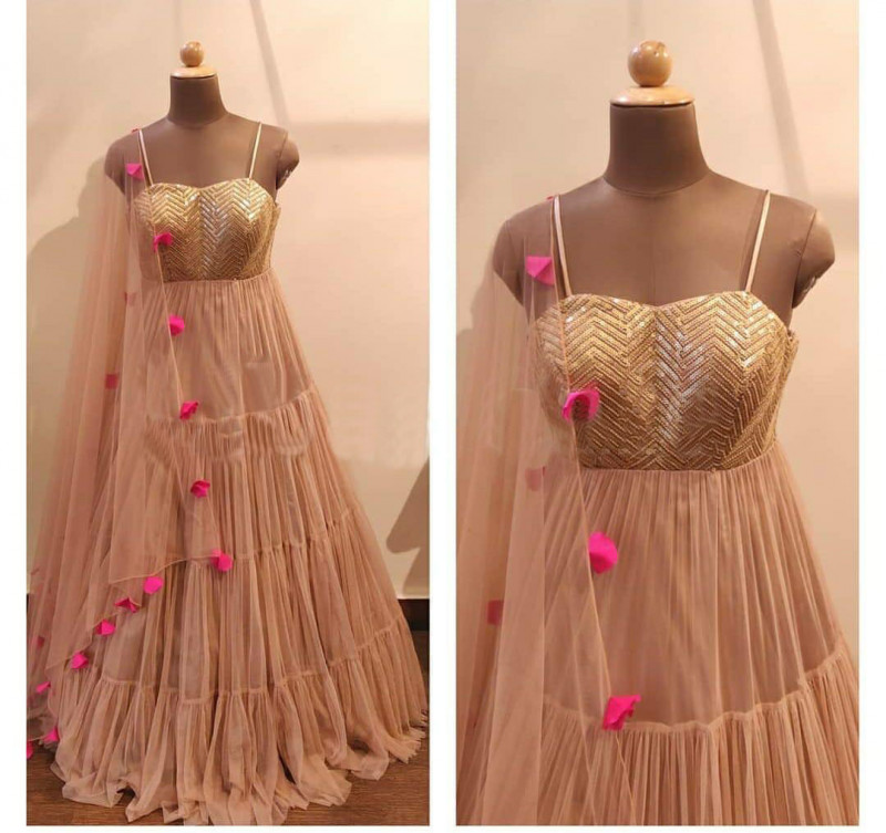 Peach Color Party Wear Long Gown