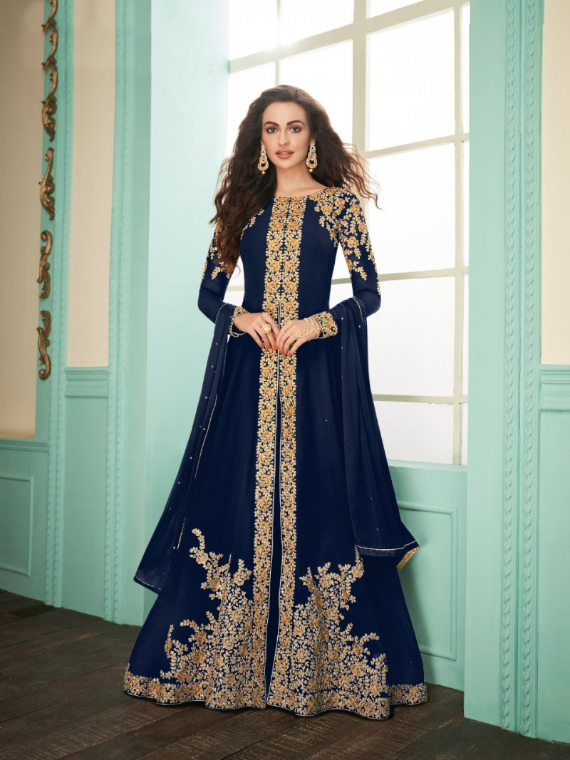 Heavy Embroidery Work Nevy Blue  Color party wear suit