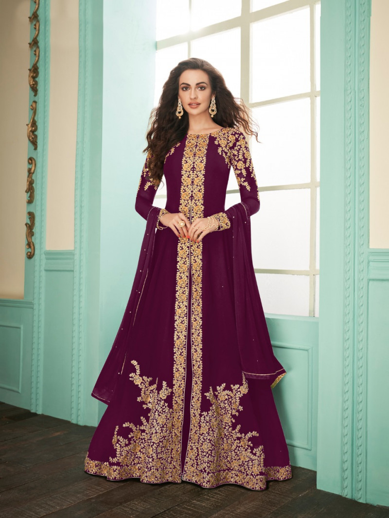 Purple Color Embroidery Work Wedding Suit Callation