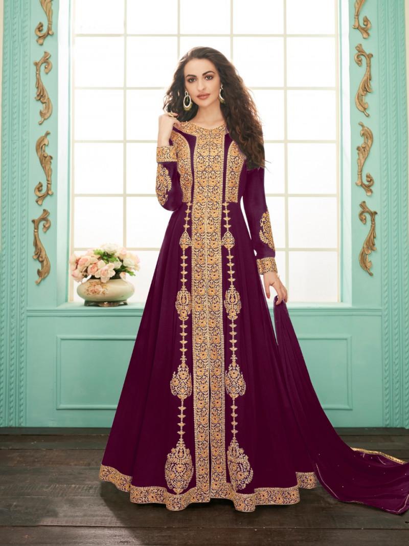Purple Color Wedding  Wear Suit