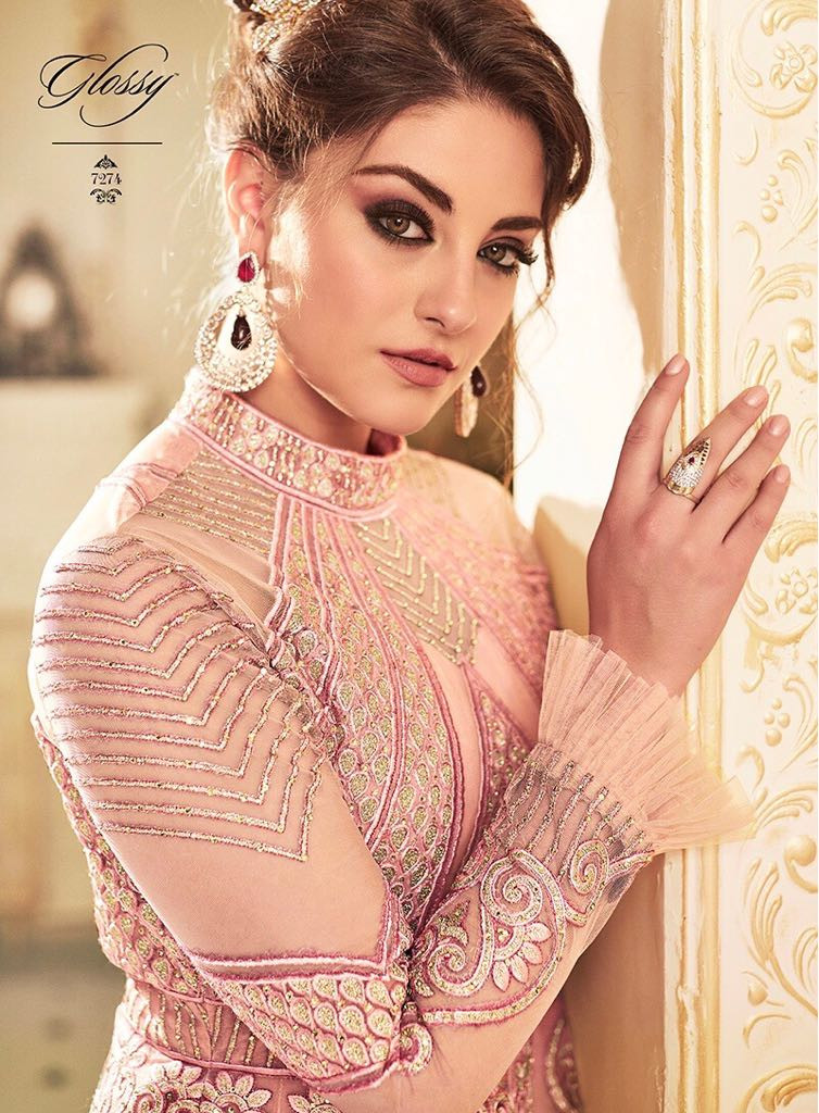 Party Wear Baby Pink Color Anarkali Suit